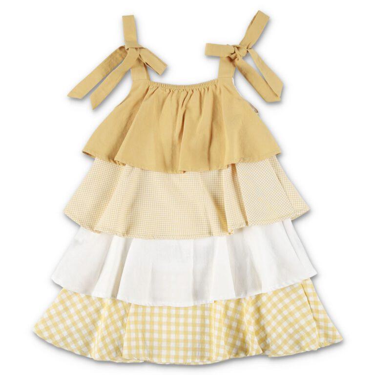 שמלת שכבות בדוגמת משבצות-צהוב