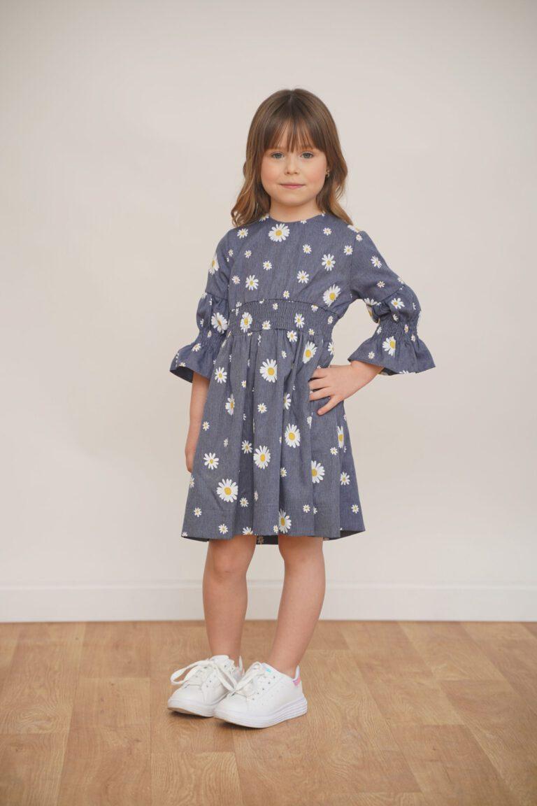 שמלה מבד דמוי ג'ינס כחול