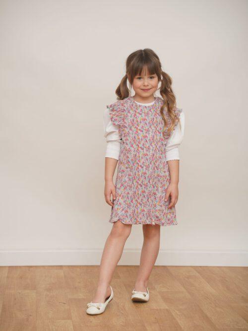 שמלת שיפון עם קפלים דקיקים- גוון בהיר