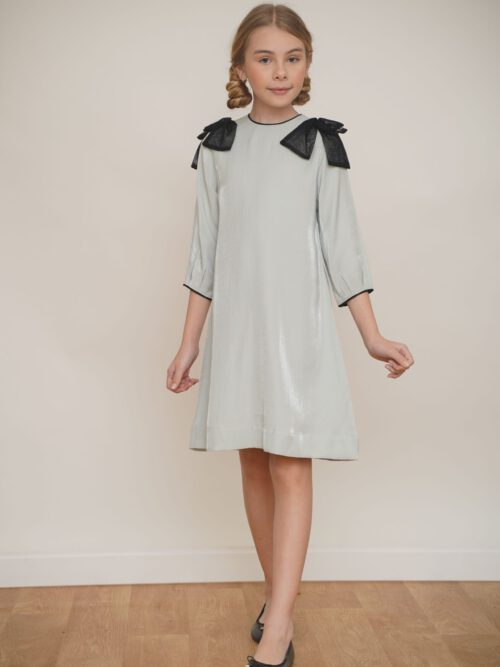 שמלת מנטה מנצנצת עם פפיון תחרה