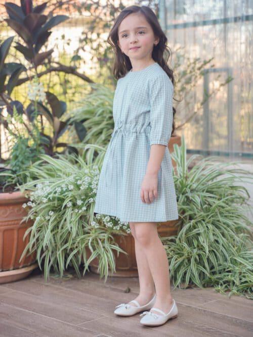 שמלת מנטה משובצת עם מרקם