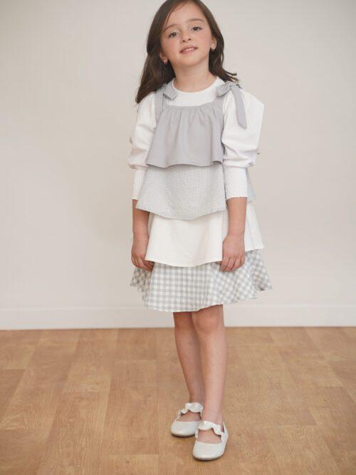 שמלת שכבות בדוגמת משבצות-אפור