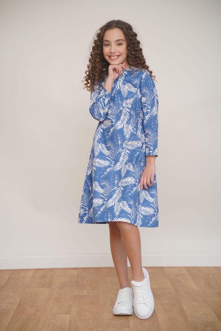 שמלה תכולה עם הדפס עלים טרופי